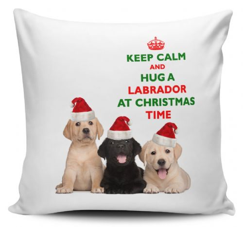 Christmas Keep Calm And Hug A Labrador Novelty Cushion Cover